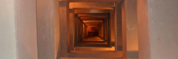view down a square stairwell